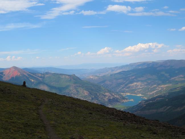 Lake San Cristobal and Redcloud Peak from 13k.