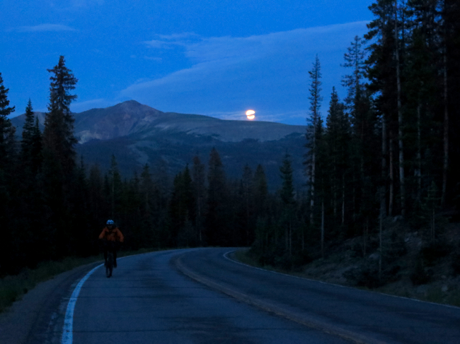 Danny and I climbed Slumgullion Pass at moonrise, on the second of our six Wilderness detours.