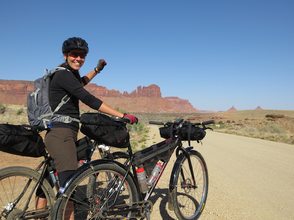 We started out near the Indian Creek climbing area, close to Canyonlands National Park.  Sandhya is ready to go!