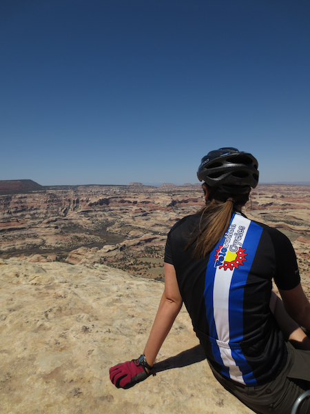 We rode out a small finger mesa overlooking the southern portion of Canyonlands.  Checking out arches and hoodoos from several hundred feet up is pretty sweet.