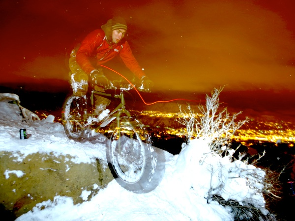 Brendan, mere moments from disaster.  We couldn't very well have a fatbike photo shoot with no fatbike, so Brendan stepped up and did the honors.
