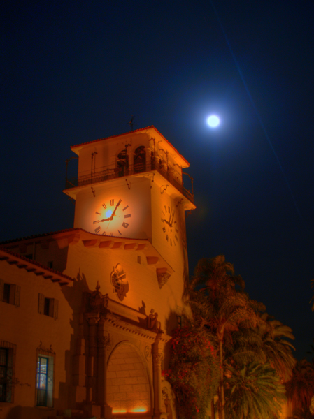 SB County courthouse under a full moon.