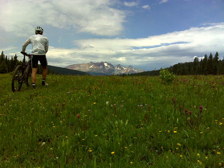 Adam walks across a boggy meadow during a one-day ride from Durango to Yankee Boy Basin outside of Ouray, via Telluride