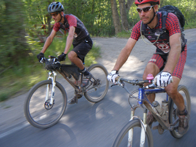 Joey and Doug on the way to a tie for the win at the 2011 Durango Dirty Century (Chad Cheeney photo)