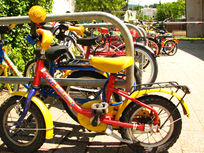 German kindergarten near Freiburg - little kid's utility bikesare everywhere, complete with fenders and racks! Germans love their bicycles.