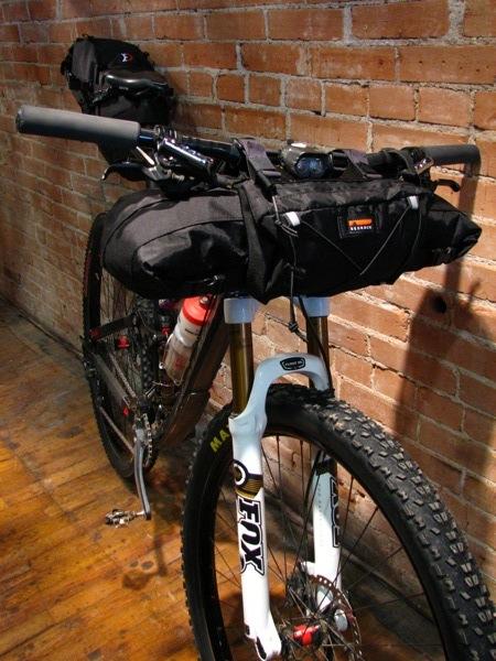 Bedrock's Entrada handlebar bag with the pocket-panel option.