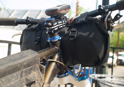 Homemade handlebar bag, circa 2010. This bag's sleek closure/lateral compression system ended up as part of Bedrock's successful Entrada bag and is still unique in the industry!