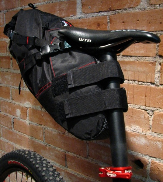 Revelate Design's Viscacha seatbag - an awesome way to carry a lot of stuff, with no rack to break.