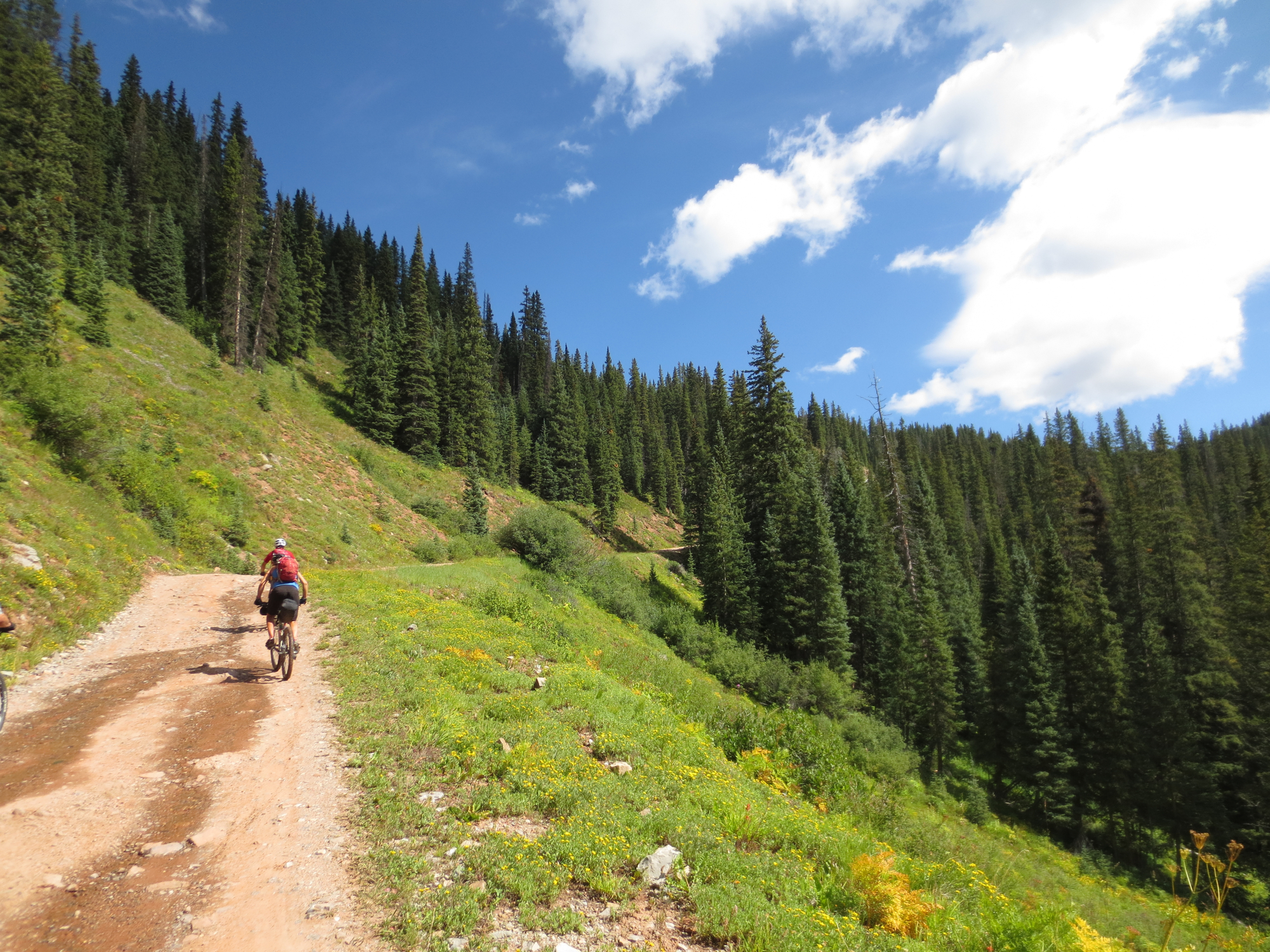 To avoid riding a bunch of trail we'd already done a million times, we began at the North Hermosa Trailhead. First up: Bolam Pass. That's one way to quickly become acquainted with your loaded bike's weight...