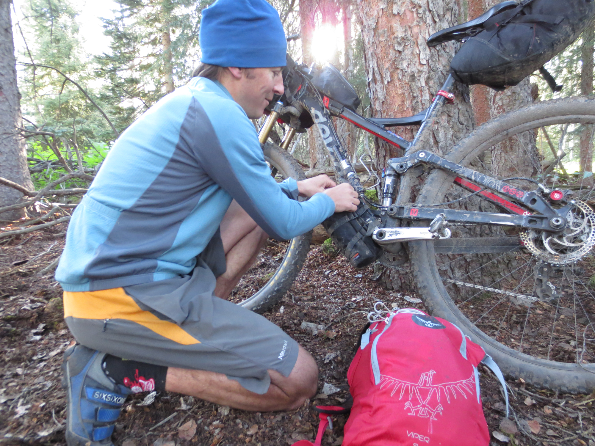 Danny rigs his Bedrock Honaker for the day's beginning.