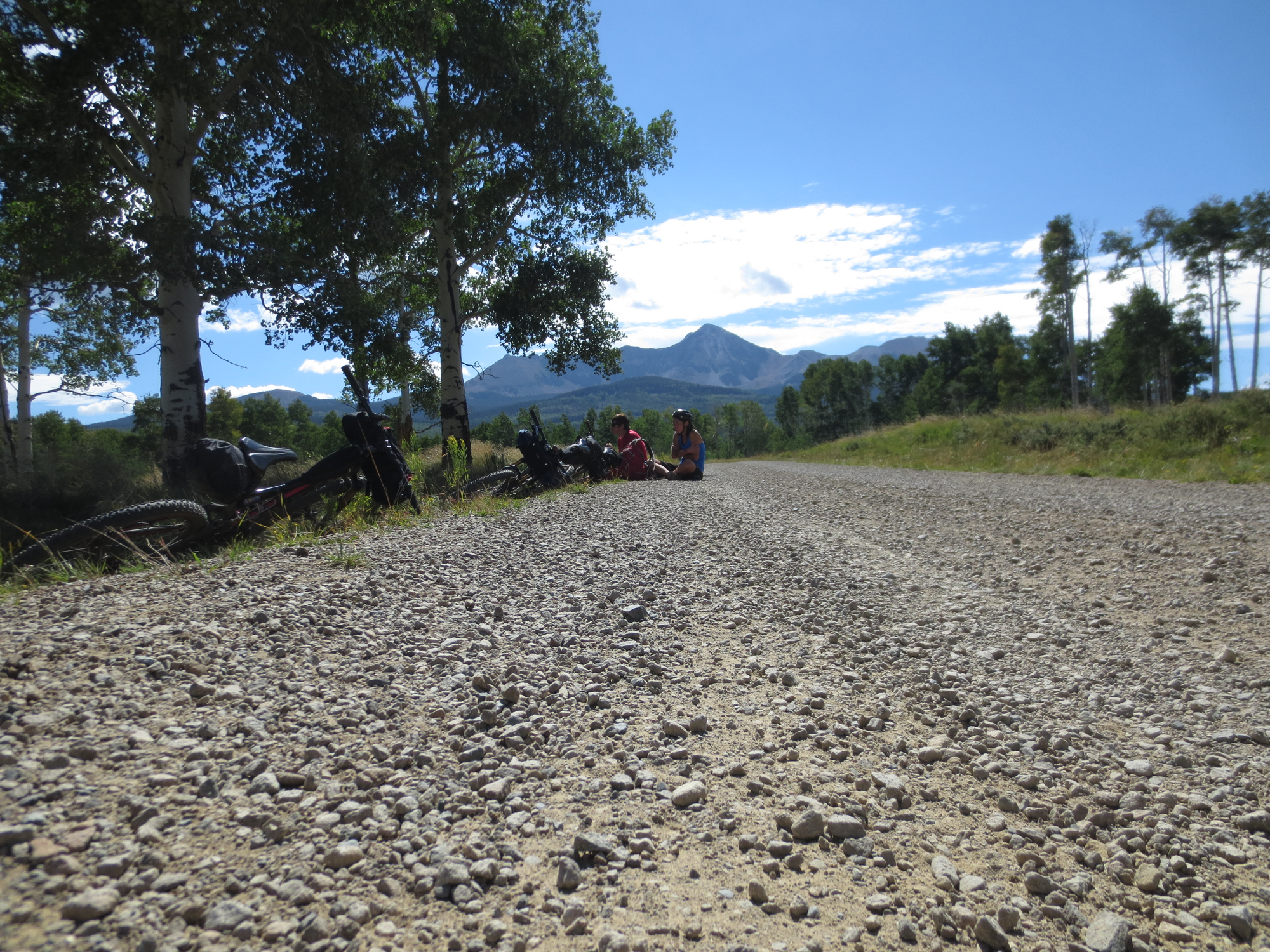 Lunch, anyone? Looking back towards the Wilson Group and sitting in the shade of aspen - life on the road is good.