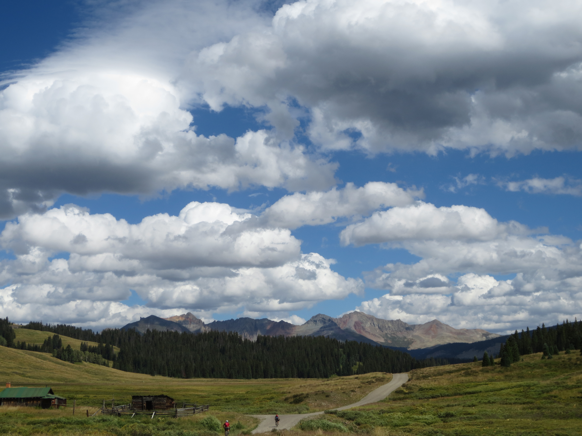 Big sky, big country. Kylie and Danny roll on to the horizon.