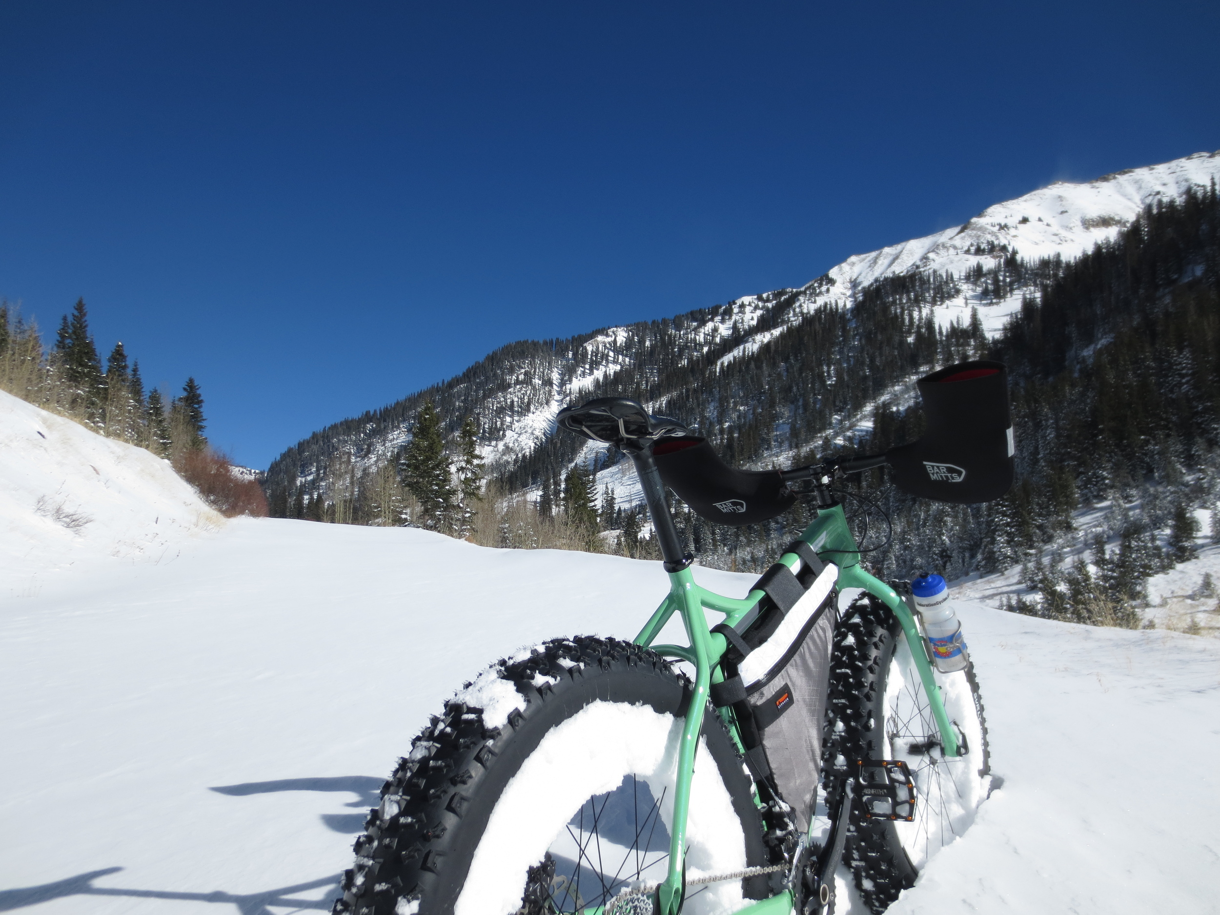 Much more snow in those wheels and I'll have some super-heavy aero disc wheels!