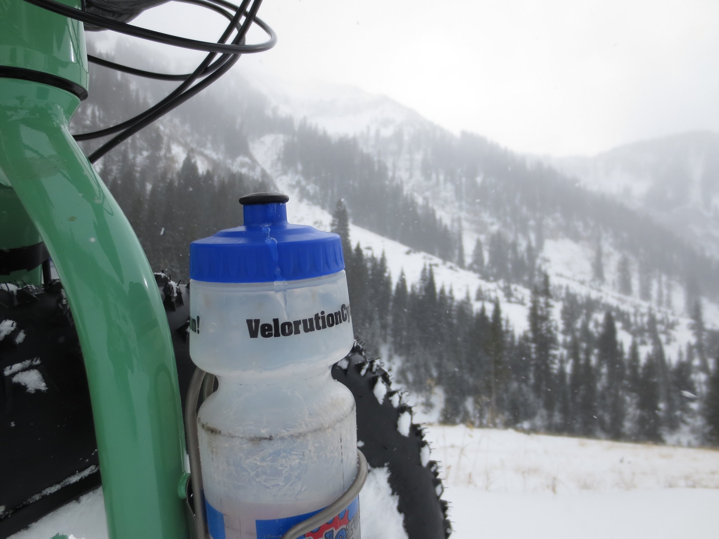 Frozen water bottles make for challenging hydration.