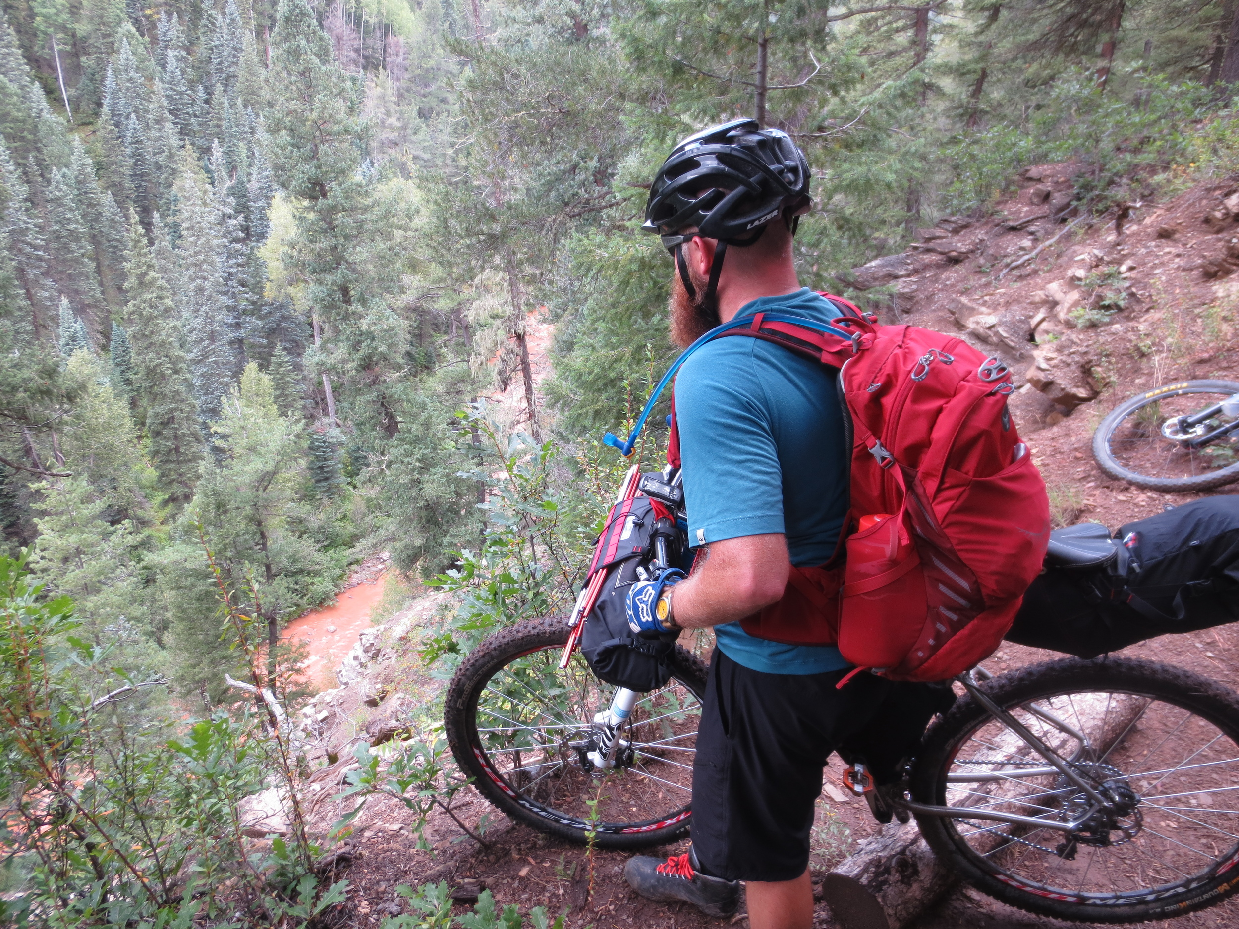 Brian overlooks Hermosa Creek, which had been running clear just twelve hours prior.