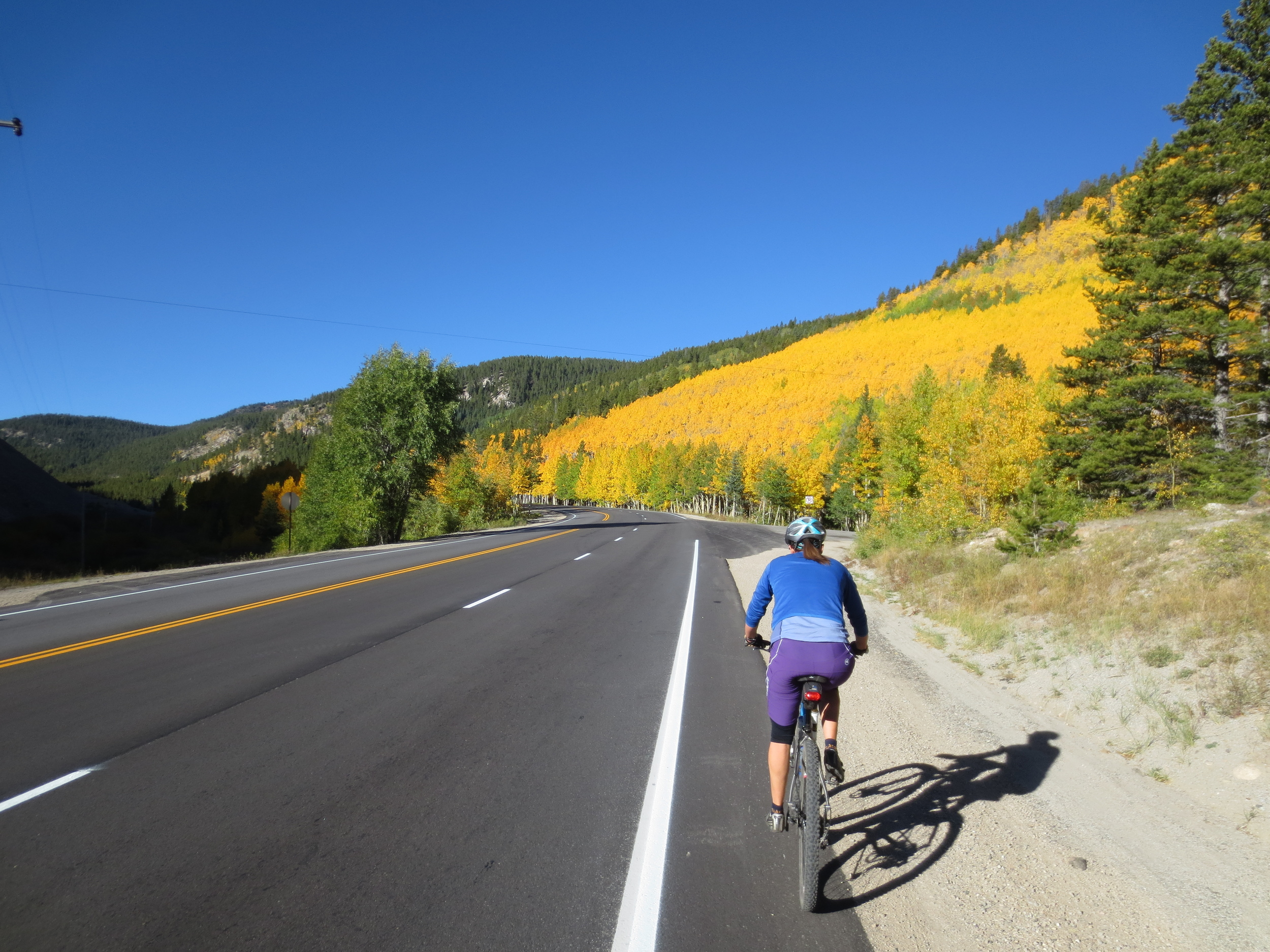Fast forward two weeks and over to Salida, and Sandhya and I are heading up Monarch Pass, looking forward to singletrack. I hadn't ridden the Crest trail in four years, and Sandhya had never been. High time to go back!