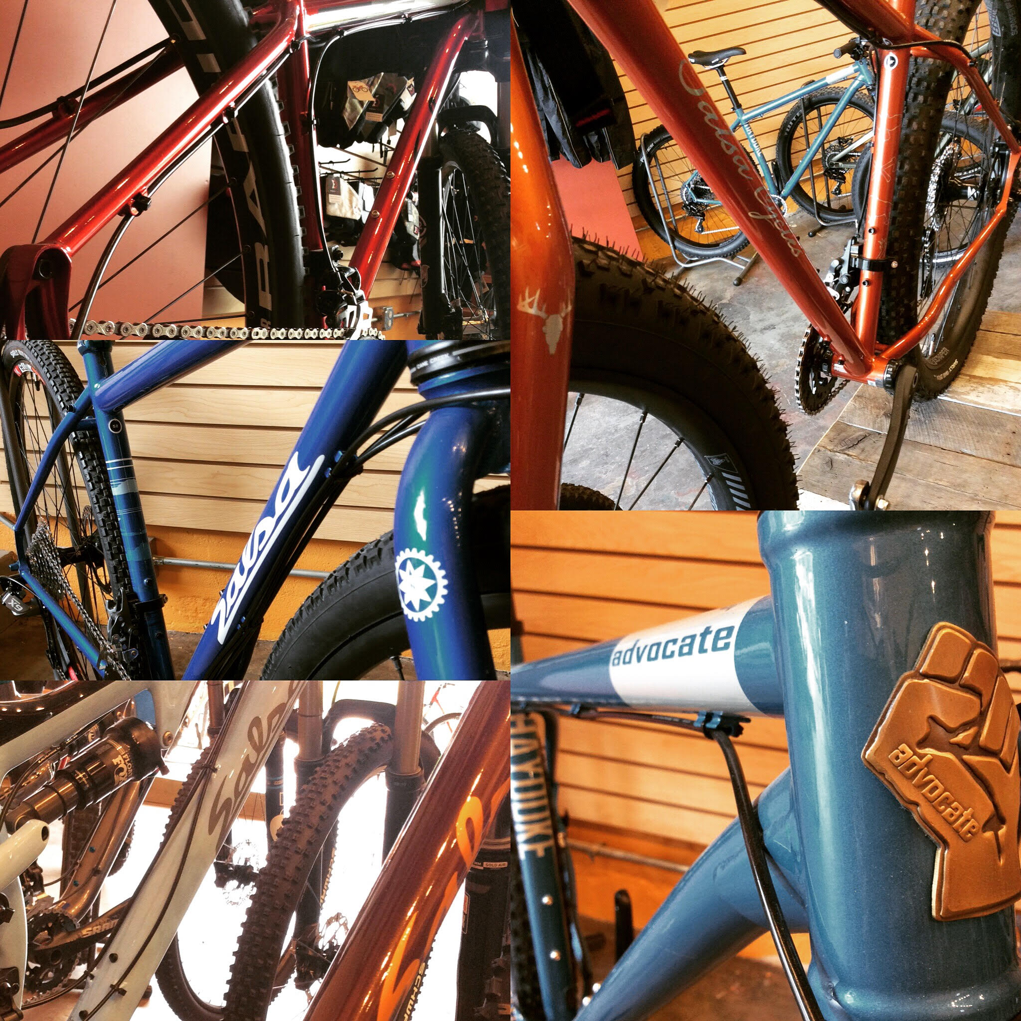 Clockwise from upper left: El Mariachi, Deadwood, Advocate Hayduke, El Mar/Spearfish, Vaya.  All sweet bikes... all on sale.  You score.