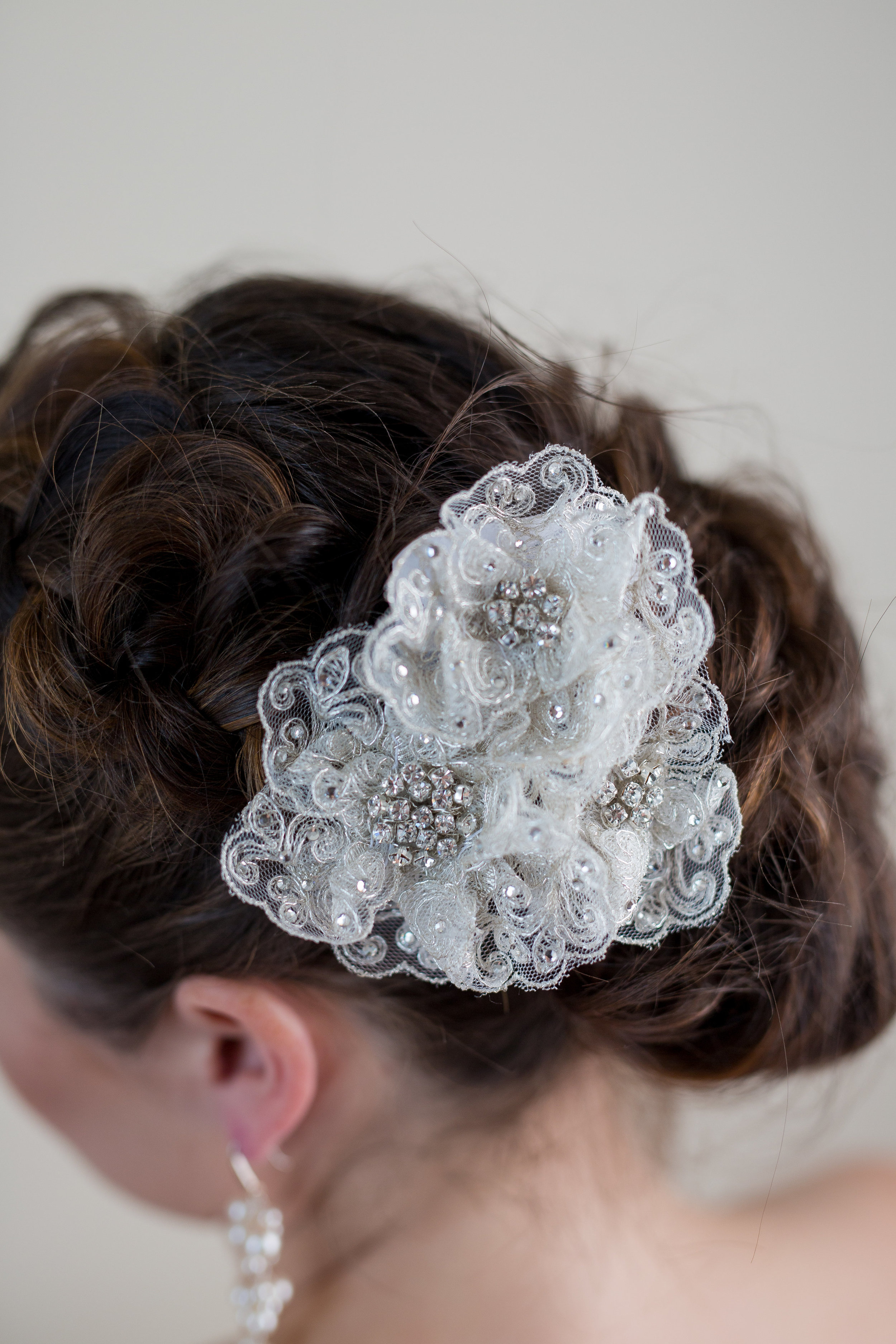 Ivory lace with silver beading