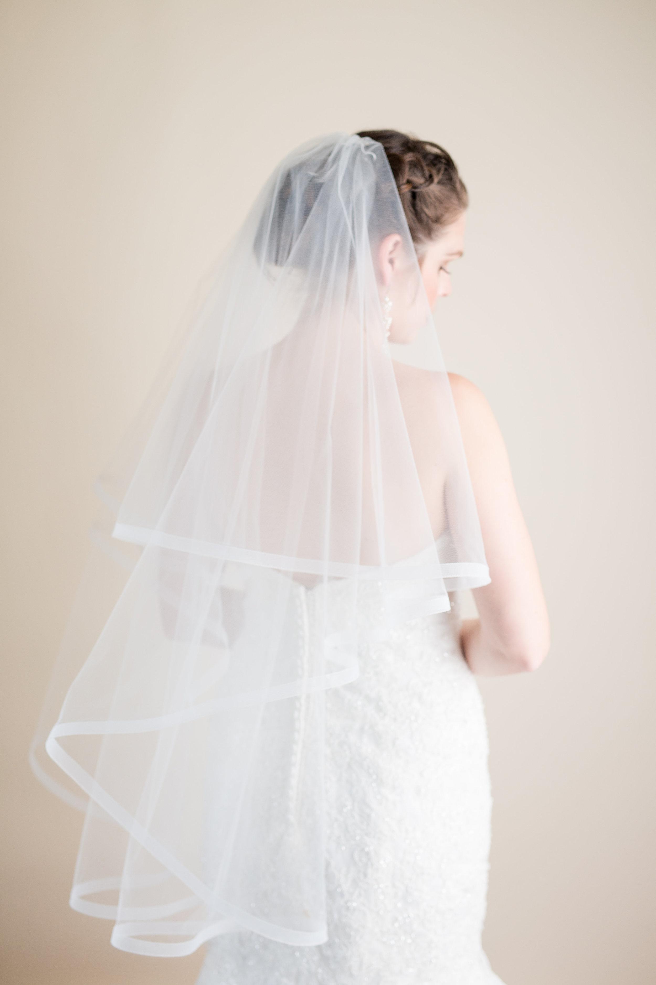 horsehair hem double layer veil