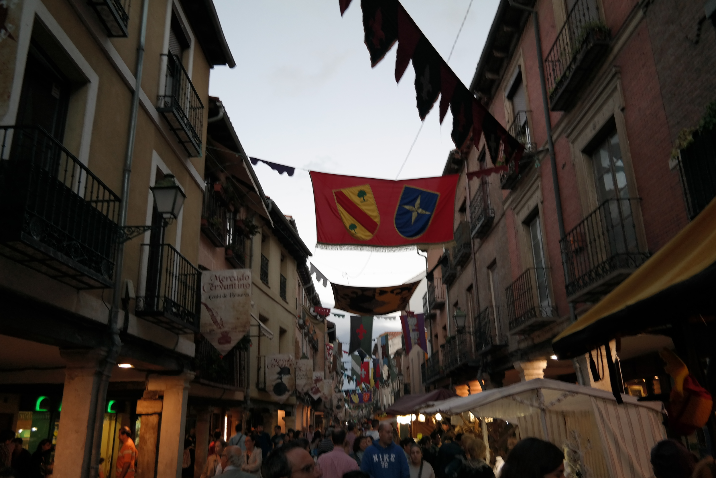 The view of Calle Mayor, one of the main streets here in Alcalá.