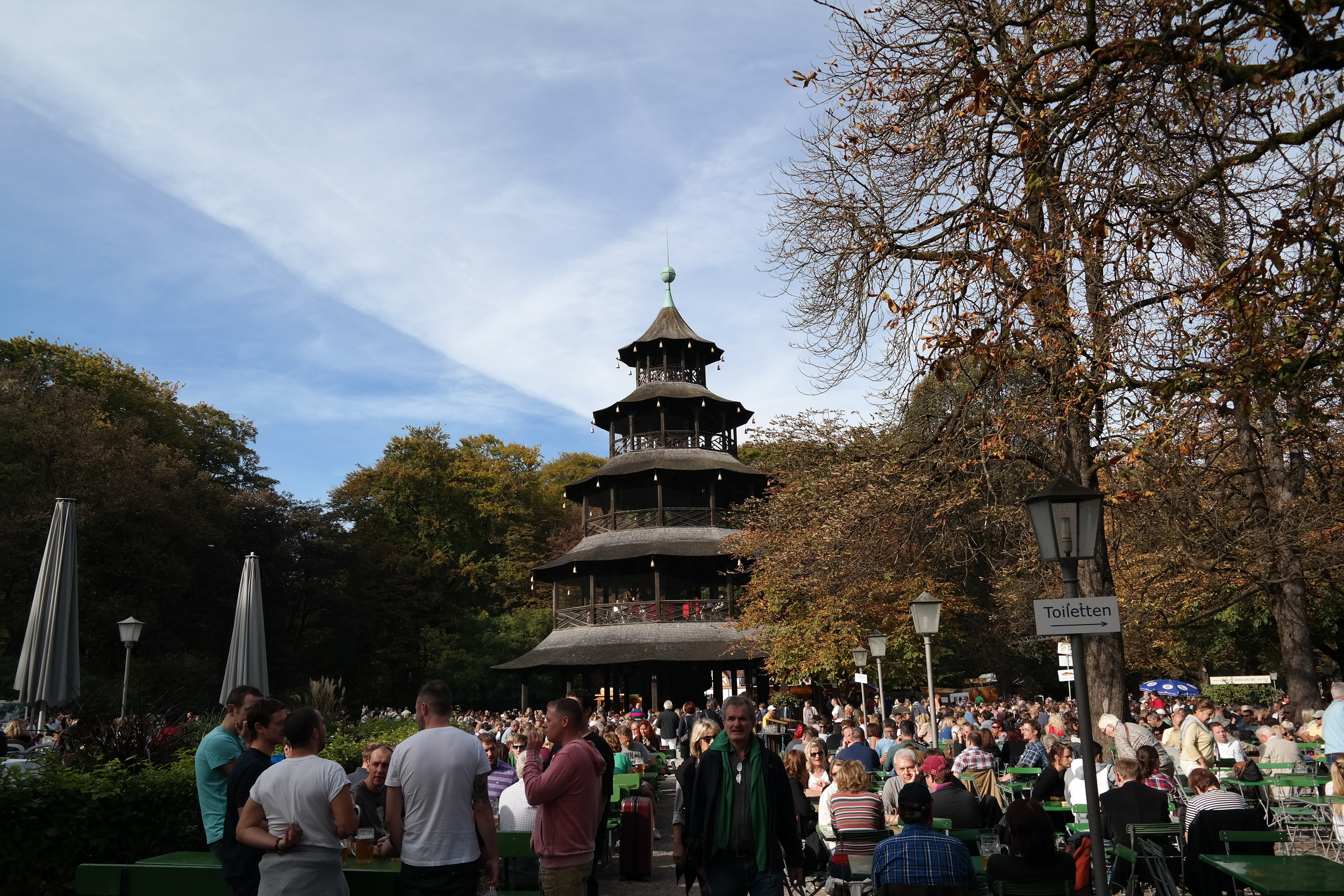 Chinesischer Turm   (Chinese beer garden). Such a fun atmosphere, great for people watching, and food and drink at not too exorbitant prices.