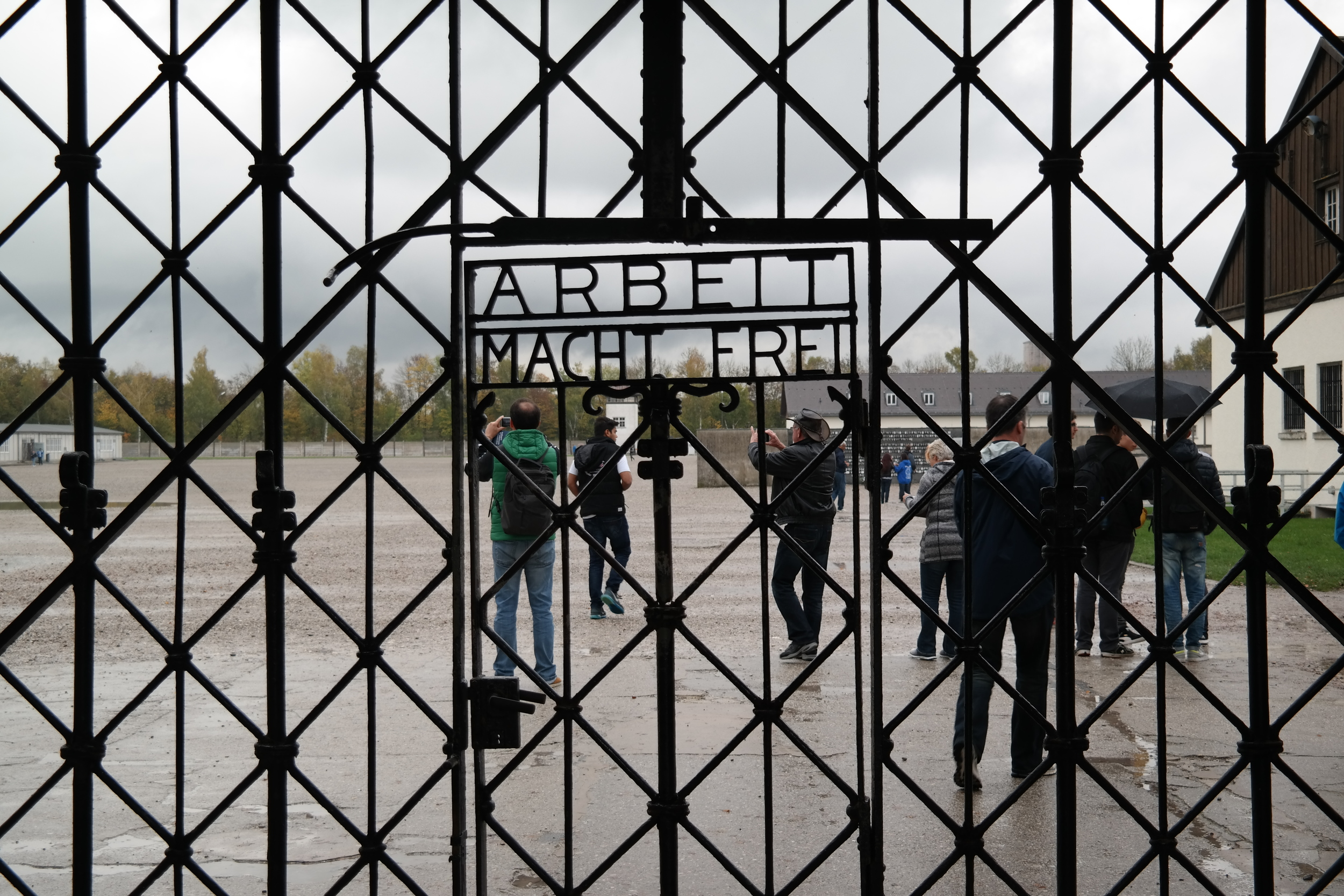 """Work Makes You Free:"" text on the gate entering into the Dachau concentration camp."
