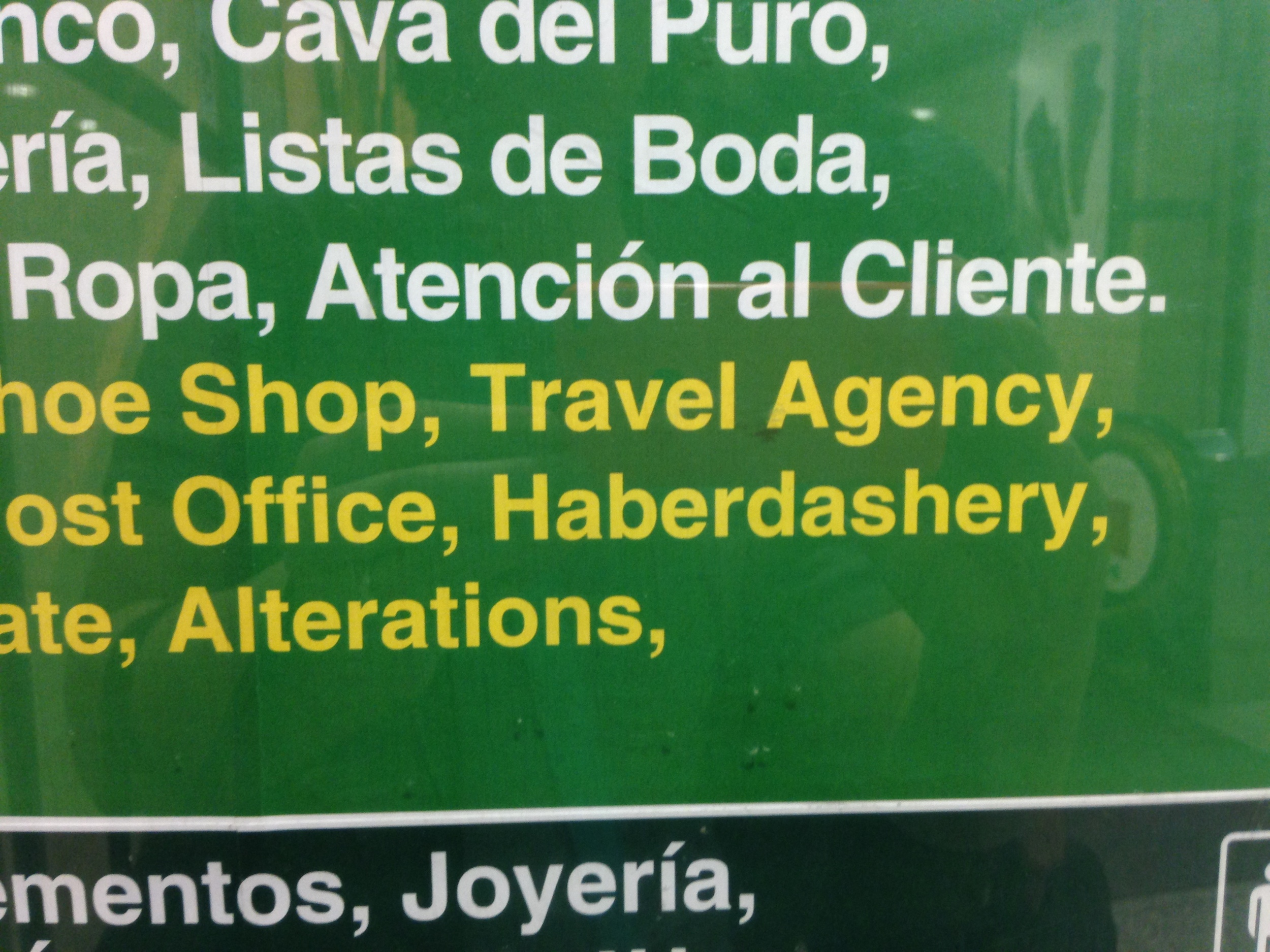 Haberdashery? I didn't realize that we were in jolly old England. Sometimes translations are really funny here!