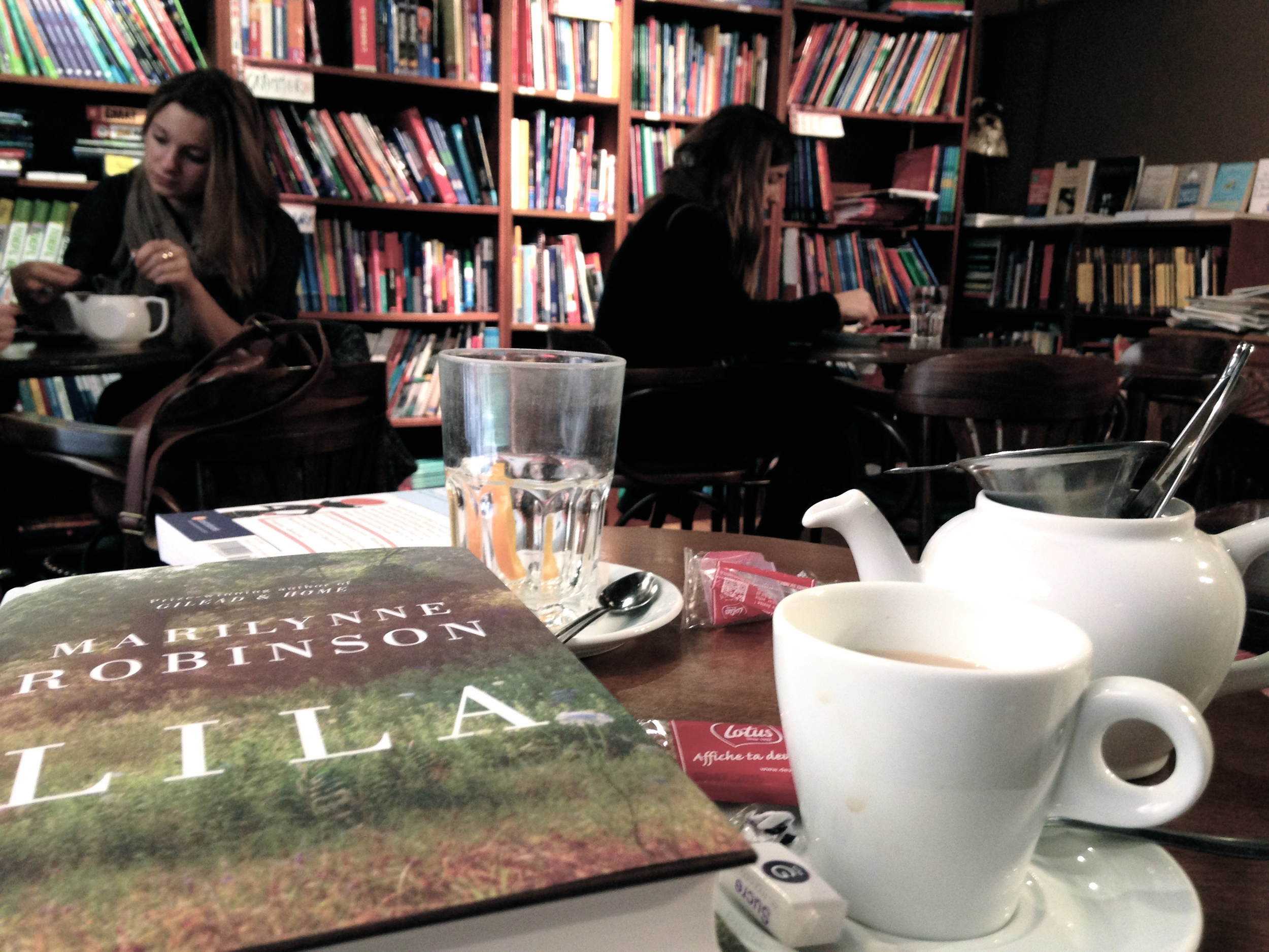 My idea of a perfect afternoon: a bookstore, tea, books, and hanging out with John.  Book in Bar, Aix-en-Provence.
