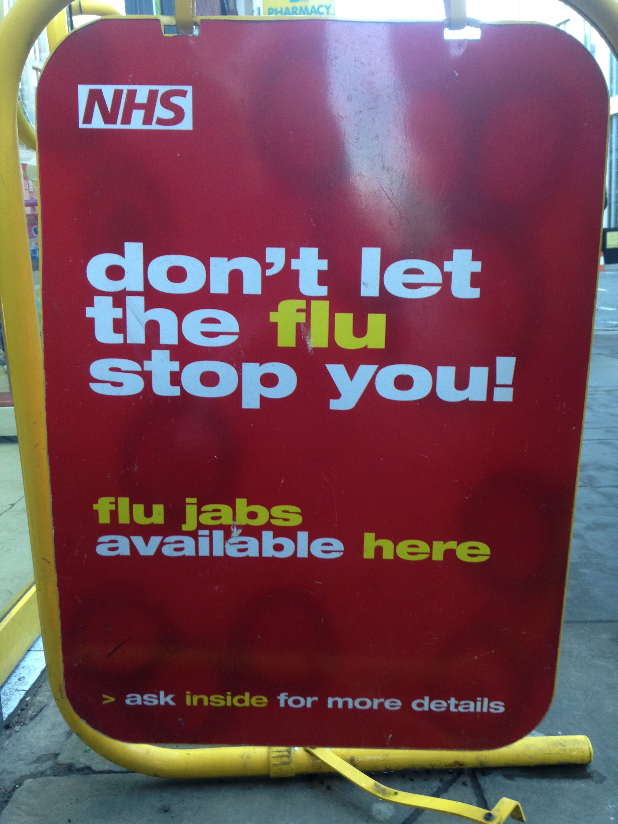 FLU JABS. I couldn't stop laughing. Also, does it strike any other Americans how much this font looks like the one CVS uses?
