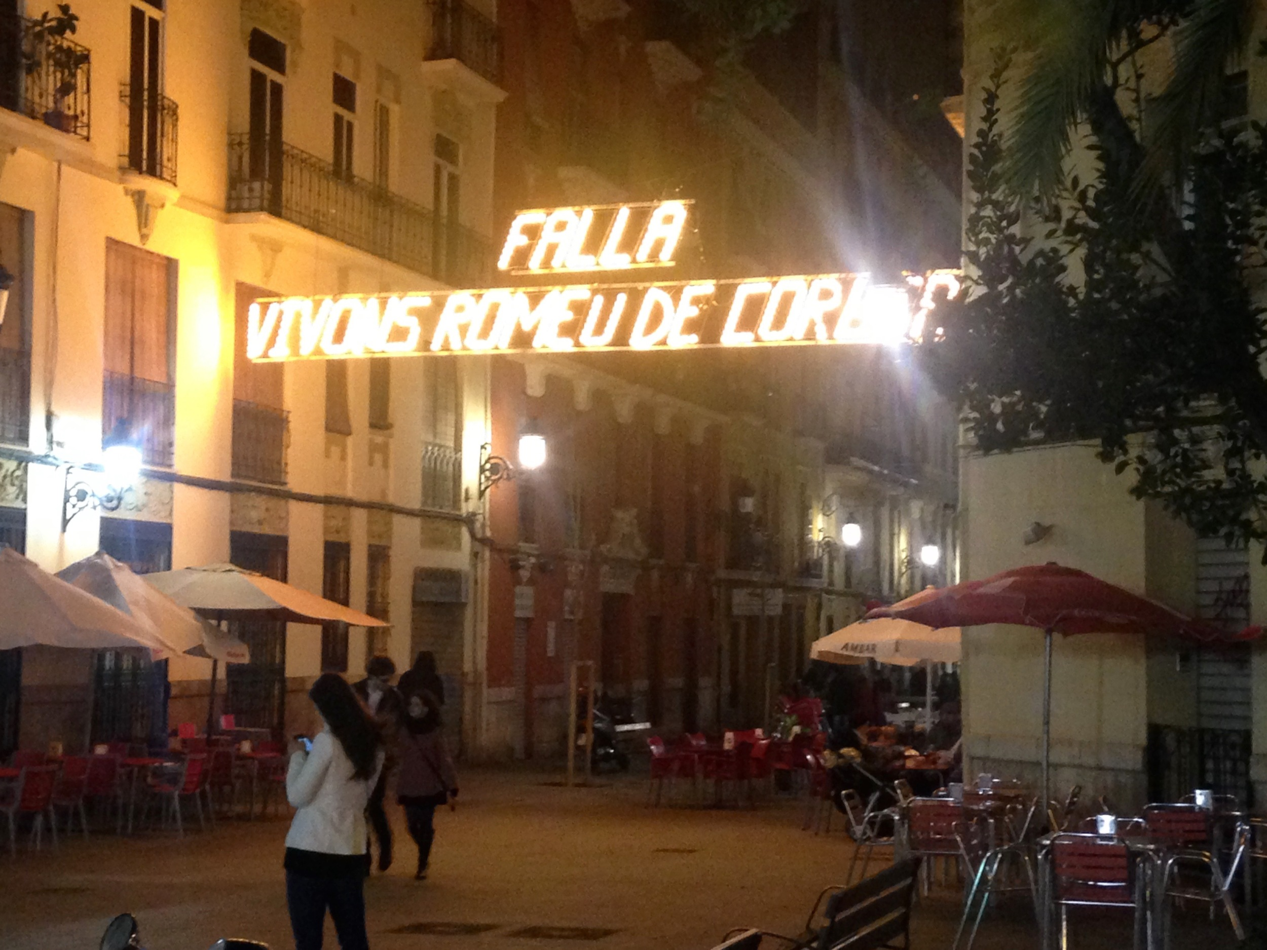 Every neighborhood had its own signs and lights. Many things are written in Valenciano, the local language (it is similar to Catalán).