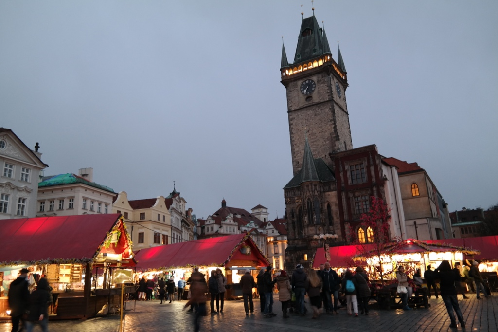 The Easter markets at night in the Old Town Square. You can find decorated Easter eggs, hot cider, traditional Czech foods, and a goat or two!