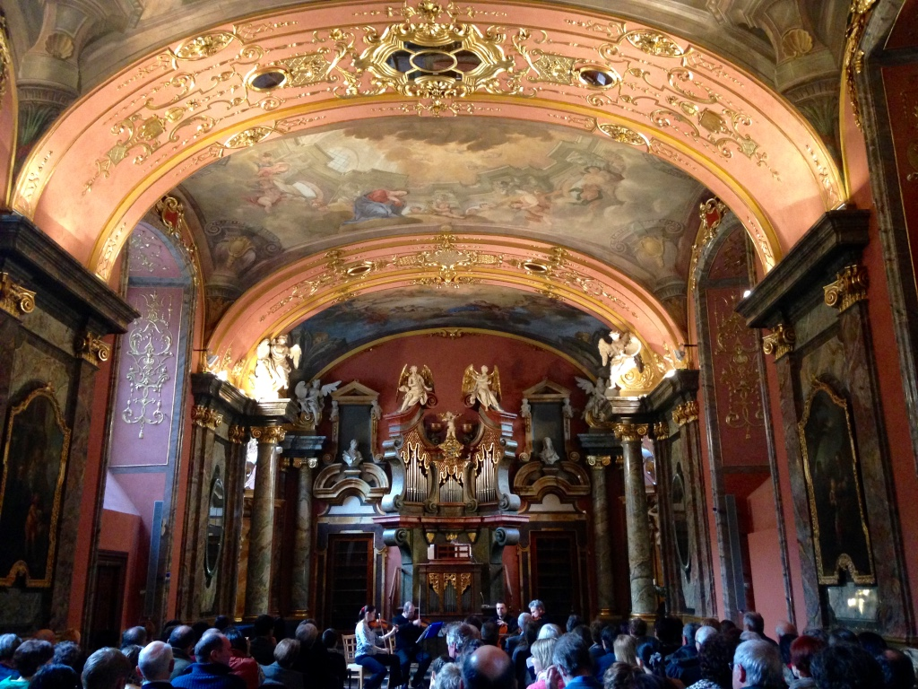 """We went to a string quartet concert in a beautiful music hall in downtown Prague. Well worth the money to hear professionals playing European composers' music, including a song that I played in high school orchestra (""""The Moldau"""" by Smetana)--they played it just a  little  bit better than we did."""