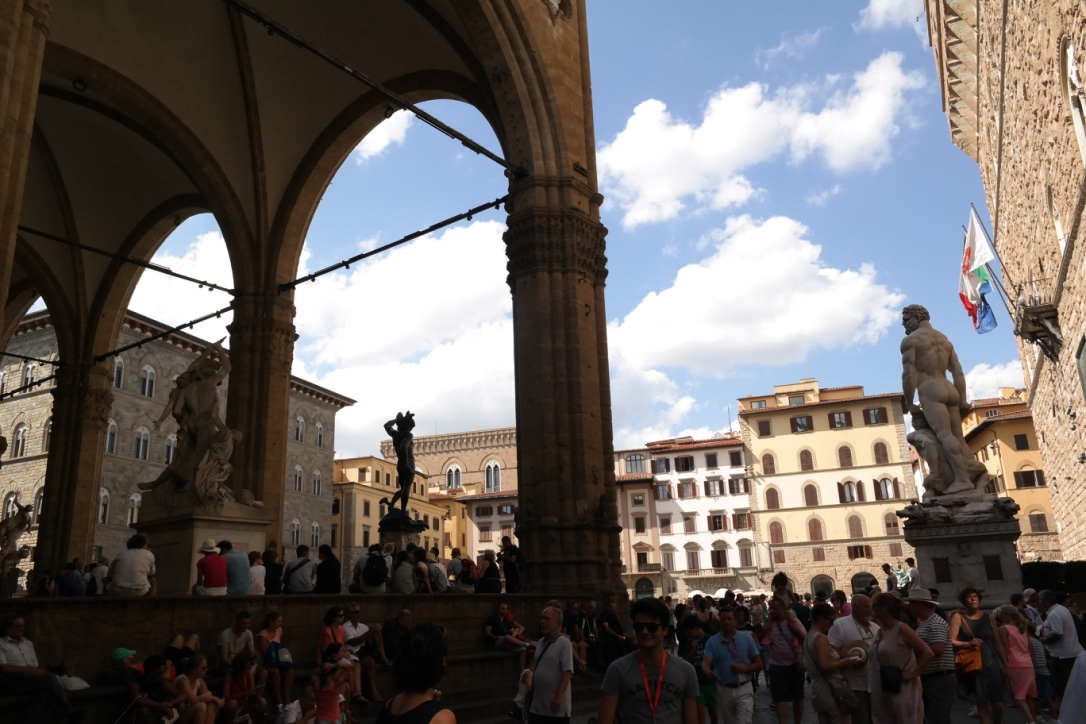 The  Piazza della Signoria --one of my favorite spots to sit and people watch, listen to street musicians, or catch a free outdoor concert at night (we heard a German youth orchestra here one night that was very good).