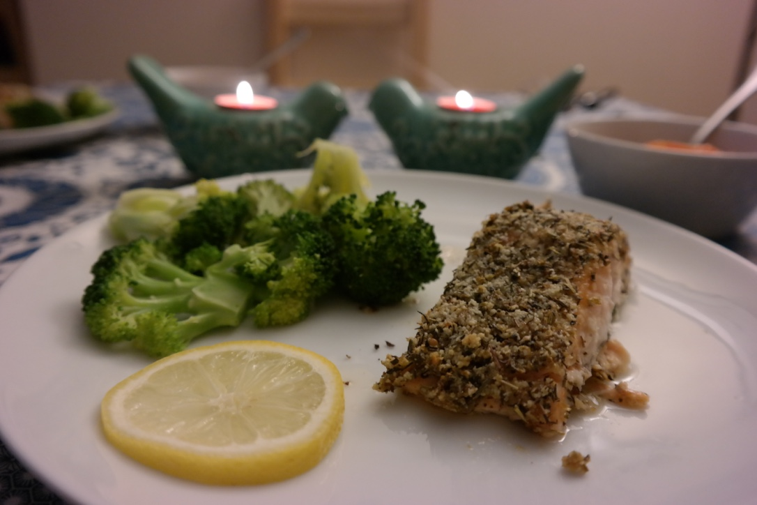 Italian Almond Crusted Salmon . Get the recipe   here  . We've eaten this recipe a few times, and it's so moist. If you can't find almond meal/flour at your grocery store and don't have a Trader Joe's nearby, get a bag of raw almonds, throw them in your food processor, and blend until fine.