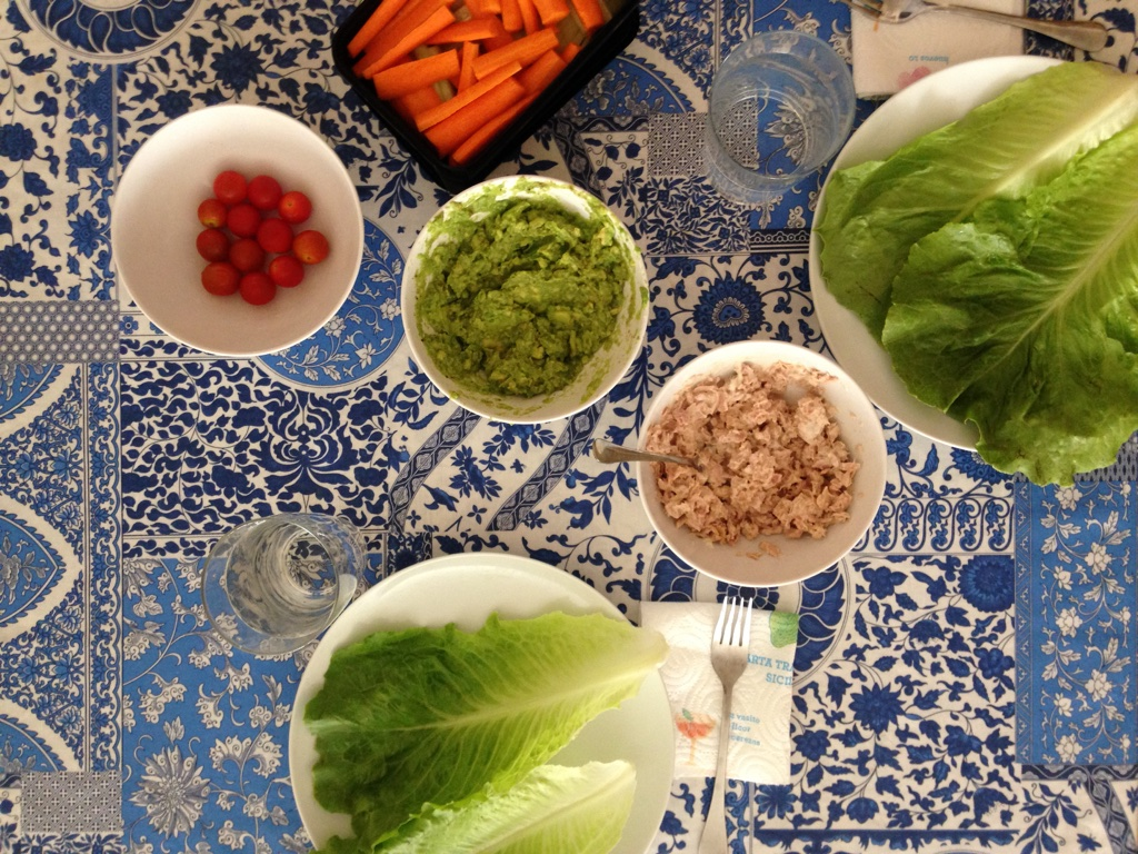 Homemade guacamole  (2 avocadoes, lots of lime juice, salt and pepper + veggies to dip) and  homemade tuna salad  are standbys.