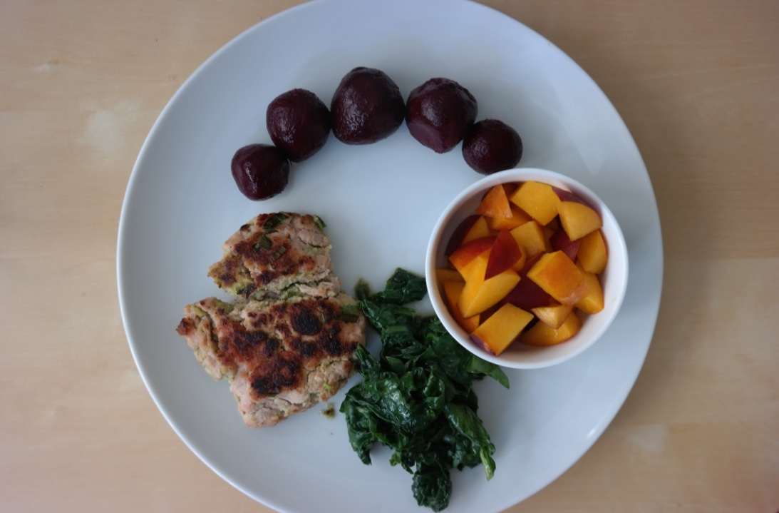 Chicken avocado burgers  with sauteed spinach, beets, and apricot . I found out that I really like beets (and that John won't touch them--so they're all mine! Mwahaha!) this week.