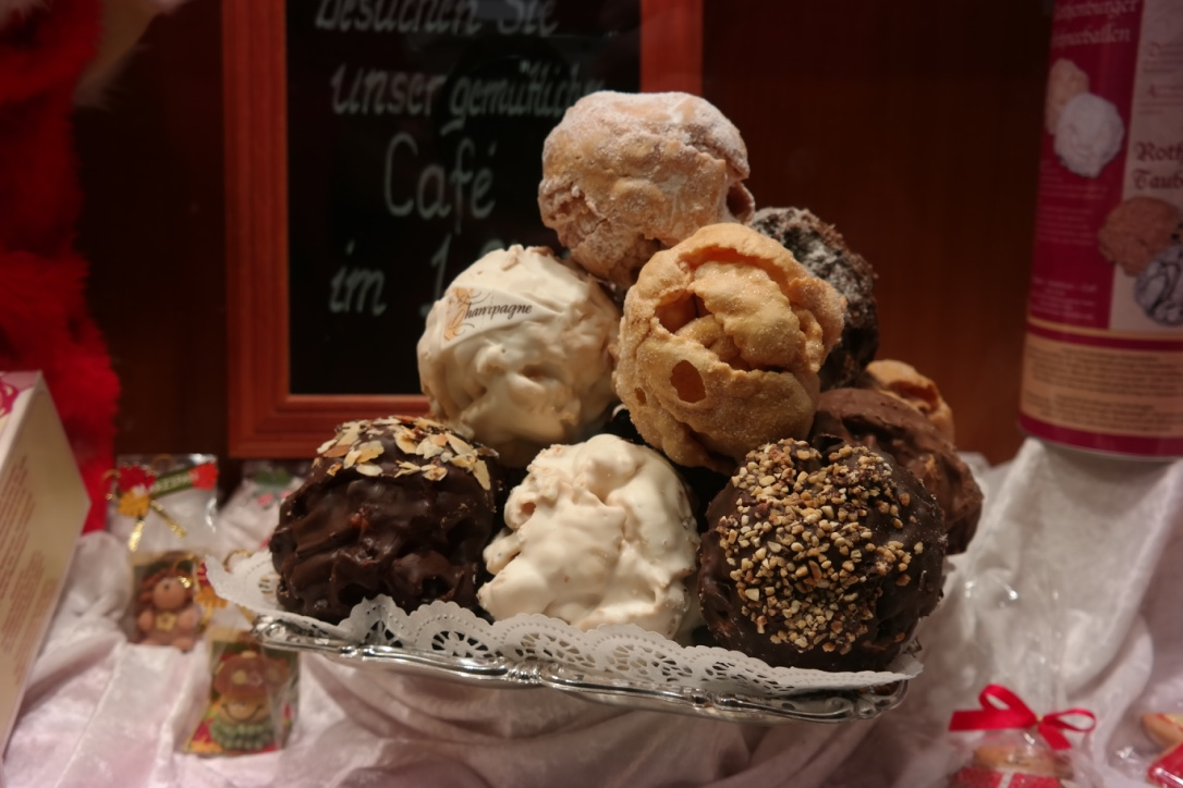 """Schneeballs  (""""snowballs"""") are a Rothenburg specialty. I (surprisingly) am not a big fan. They are basically just leftover pie crust baked together and covered in sugar or chocolate. So kind of some of my favorite ingredients...but it didn't do much for me."""