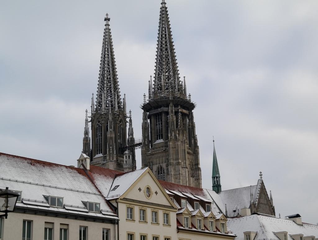 A snowy Regensburg.