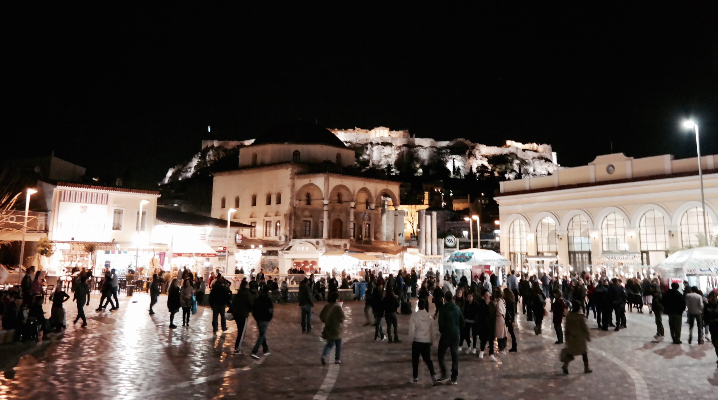 Syntagma, the center of the city is bustling at night. This square was a great spot to stop, eat some frozen Greek yogurt, and people watch. The view of the Acropolis overlooking the city is a nice touch. :)