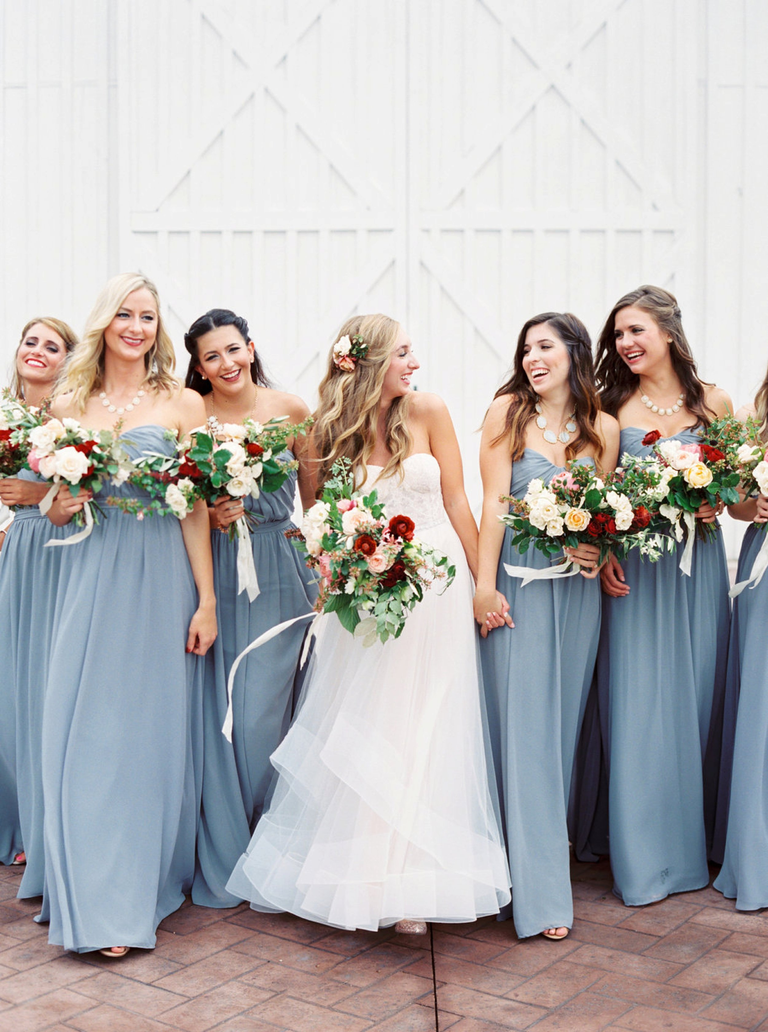 Dusty Blue Bridesmaid Dresses, White Sparrow Barn Wedding
