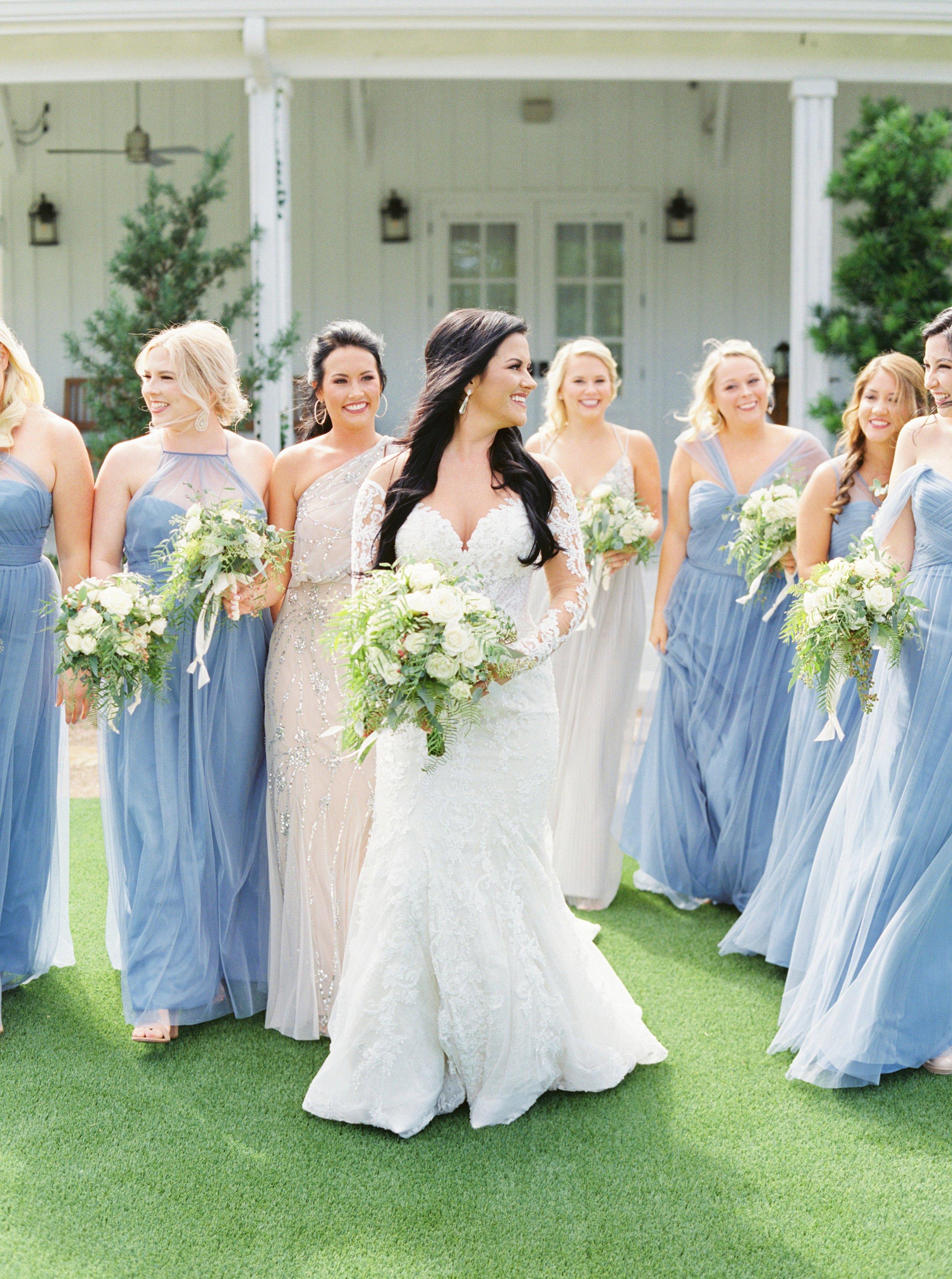 Farmhouse Wedding Photography, Blue Bridesmaid Dresses, Champagne Bridesmaid Dresses