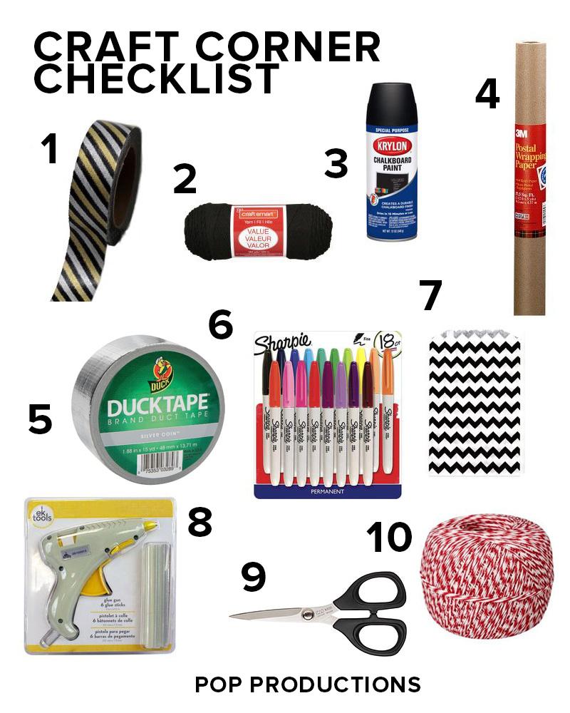 Pop Productions Craft Corner Checklist