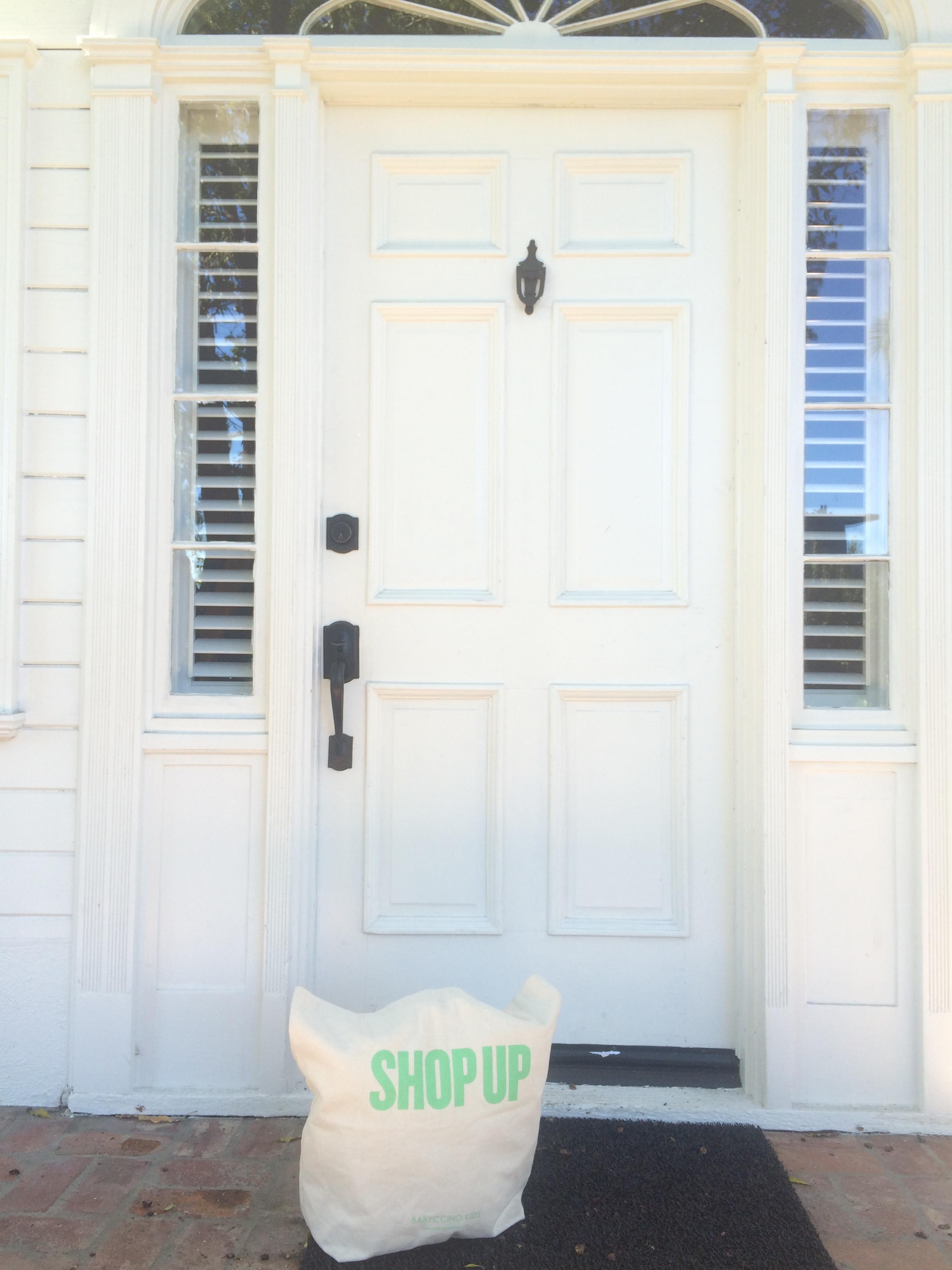 ShopUp  tote outside Lombardi House. The magic happens April 10-11!