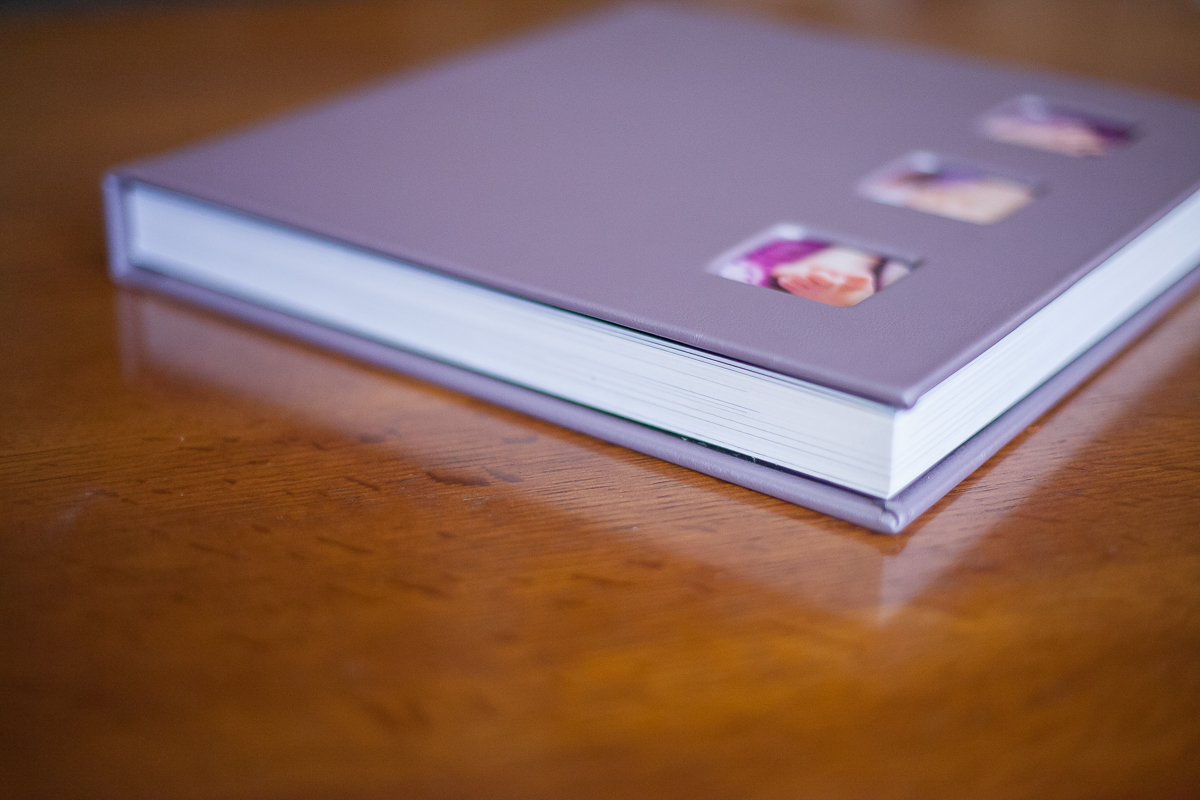 Heirloom Album thick pages with leather cover and 3 cameo images