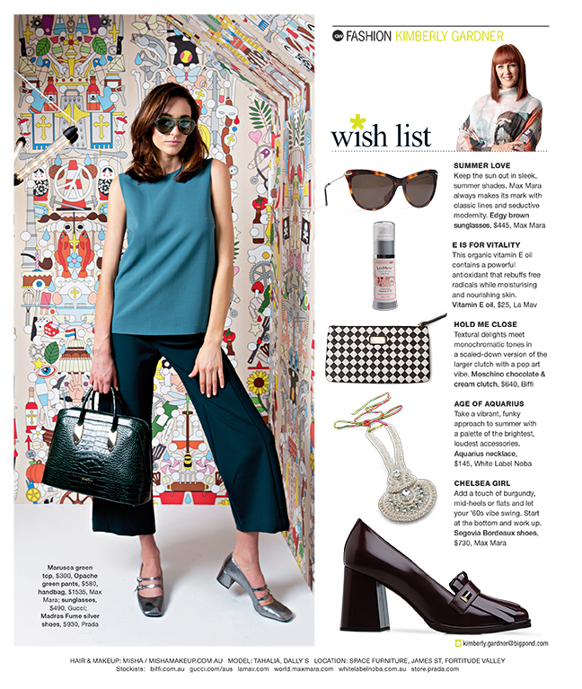 Fashion for Q Weekend Magazine, The Courier Mail. Styling : Kimberly Gardner, Hair & Makeup : Misha, Photography : Russell Shakespeare
