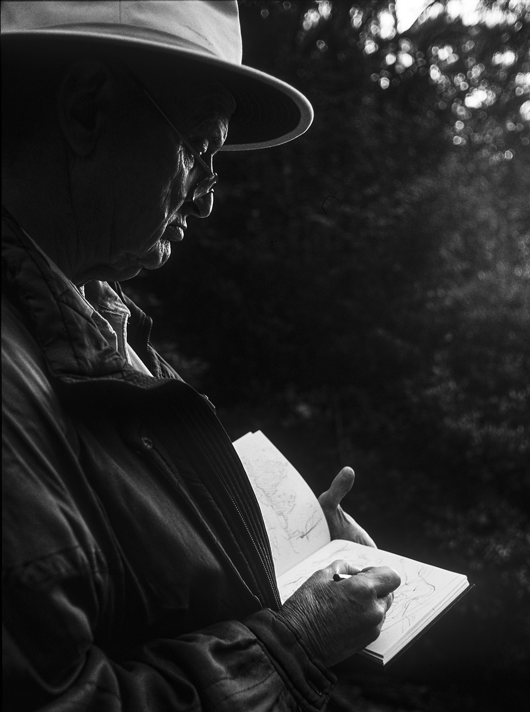 """The Artist William Robinson sketching in Springbrook National Park""  ©Russell Shakespeare"