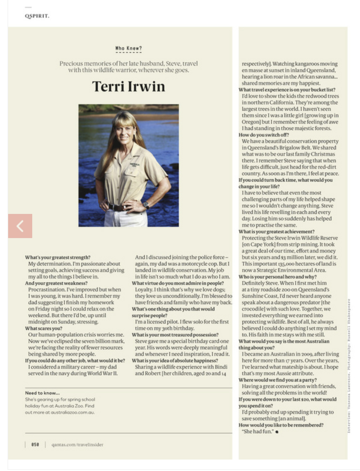 Terri Irwin photographed at The Steve Irwin Wildlife Reserve for Qantas Magazine