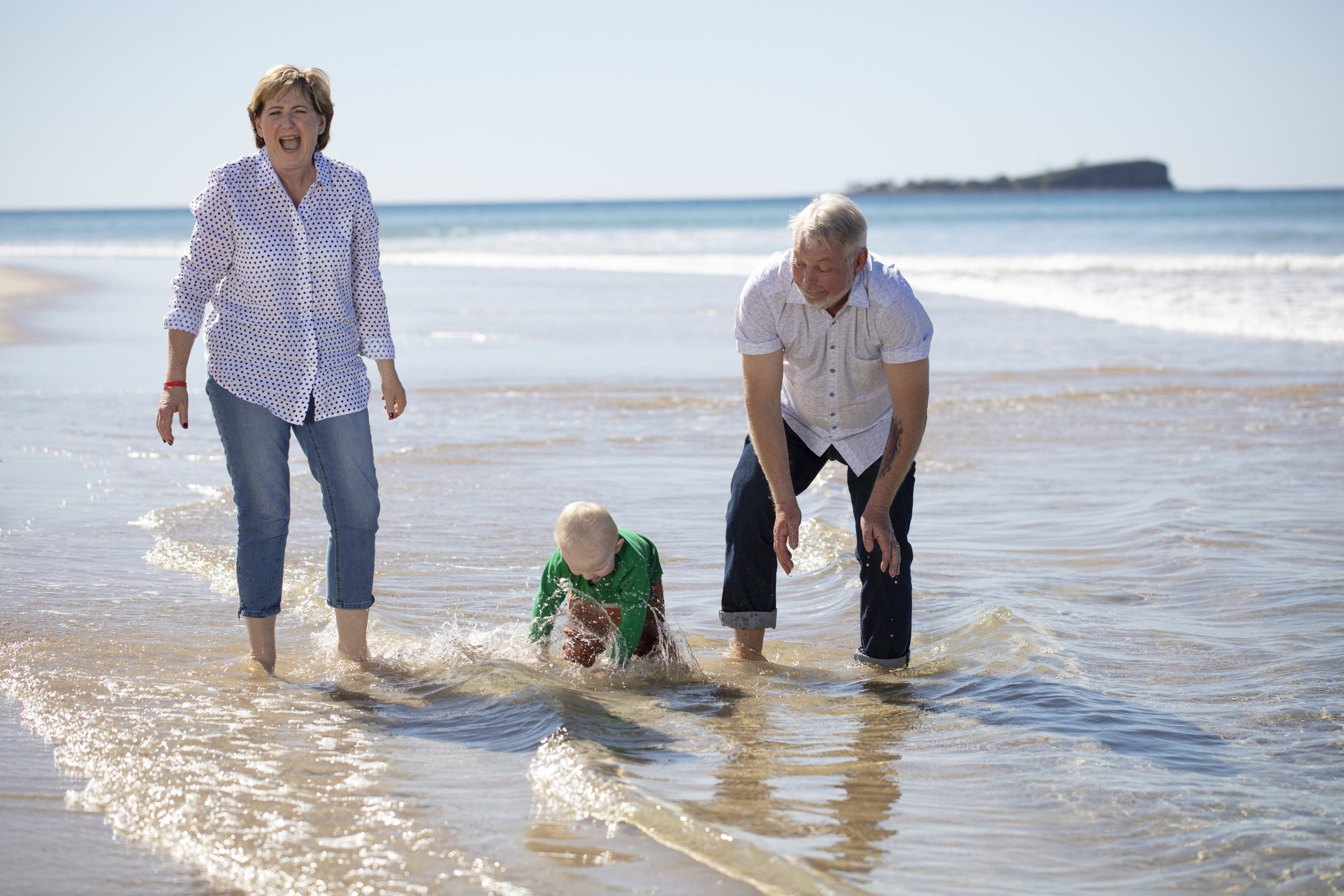 Denise and Bruce Morcombe with Grandson Winston. photographed on the Sunshine Coast, Qld for The Australian Women's Weekly Magazine .           © Russell Shakespeare 2018