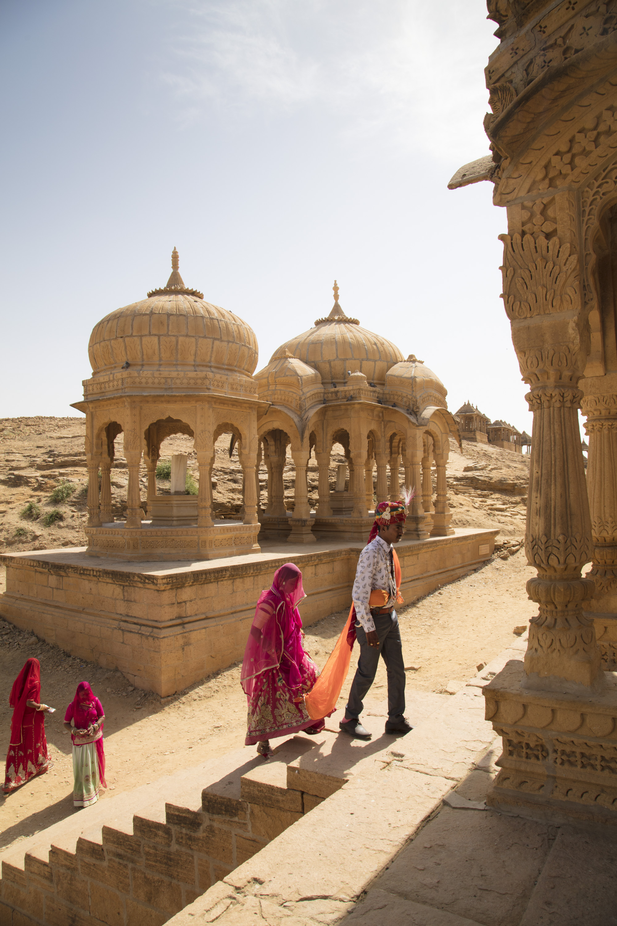 Mitaly and Dharmender who have just been married, photographed Barabagh, Jaisalmer, India.
