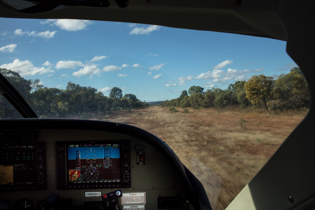 Royal Flying Doctor Service Clinic at Gilberton Station, Qld...taking off from the dirt airstrip